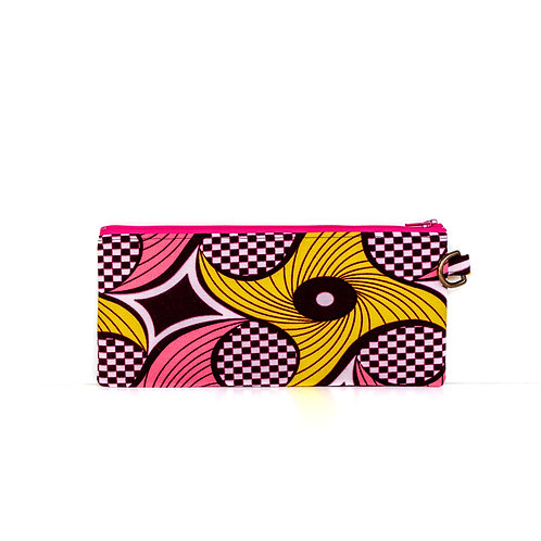 Pinwheels African print zipper pouch organizer with D-ring