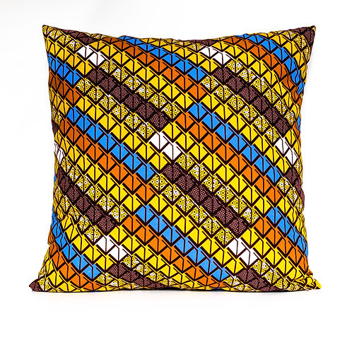 Arrows yellow, blue, and brown African print ankara decorative pillow cover