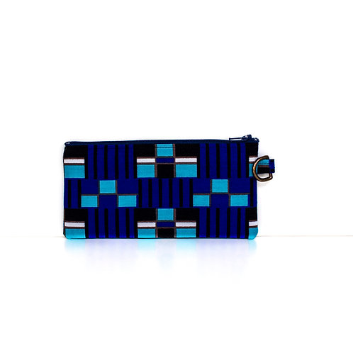 Geo Blue African print essentials zipper pouch with D-ring