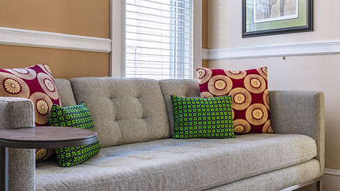 African print decorative pillows on living room sofa