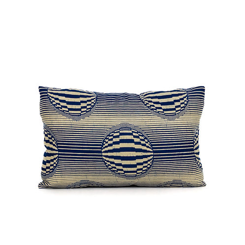 Navy blue and beige stripes and spheres African print decorative pillow