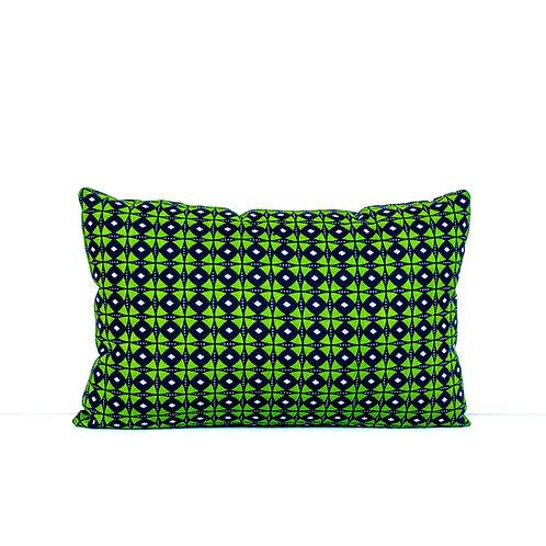 Green and navy blue African print throw pillow rectangular