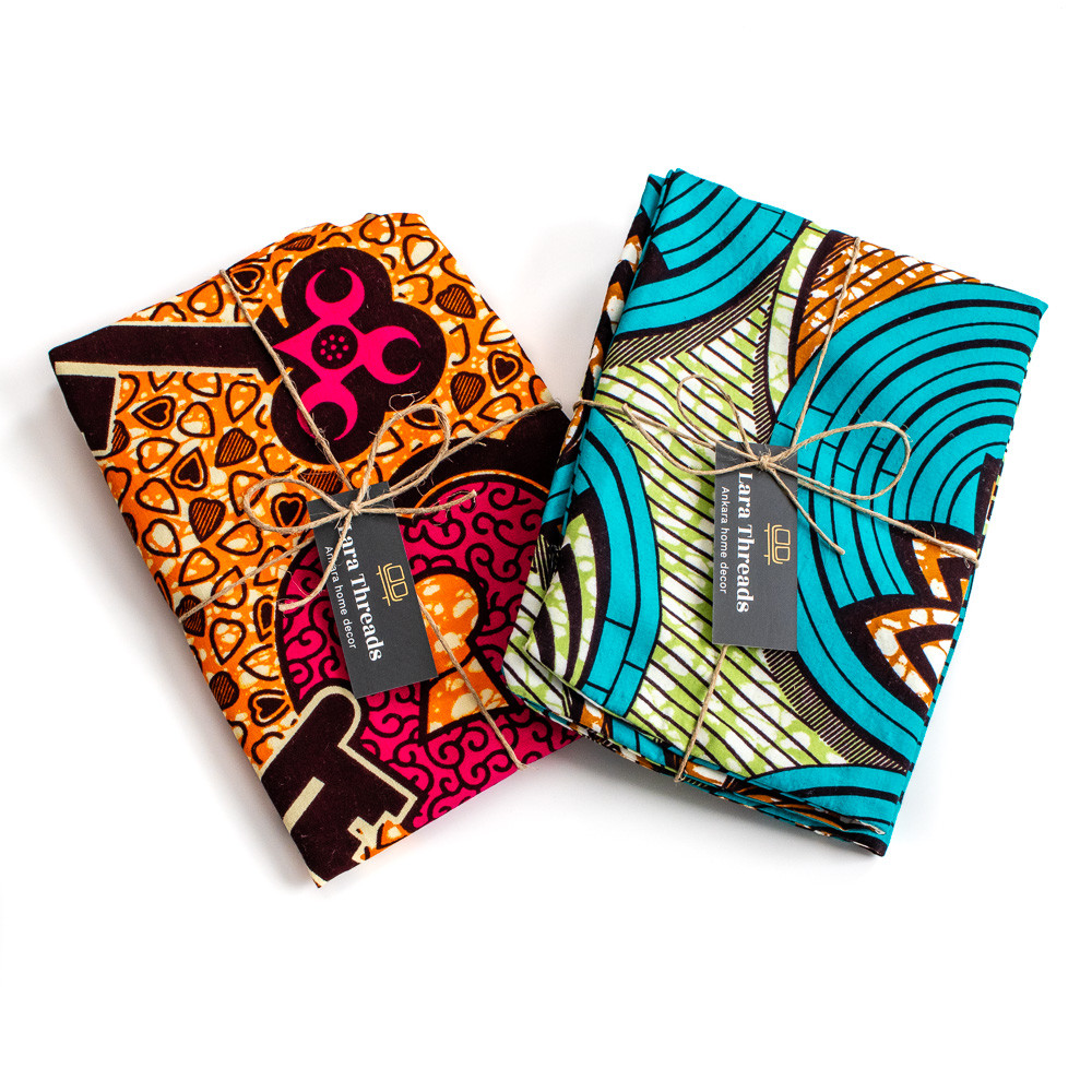 African print decorative pillows gift wrapped with hemp twine for eco-friendly packaging