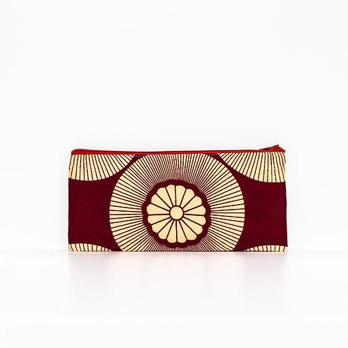 Burgundy and beige rose window African print zipper pouch organizer