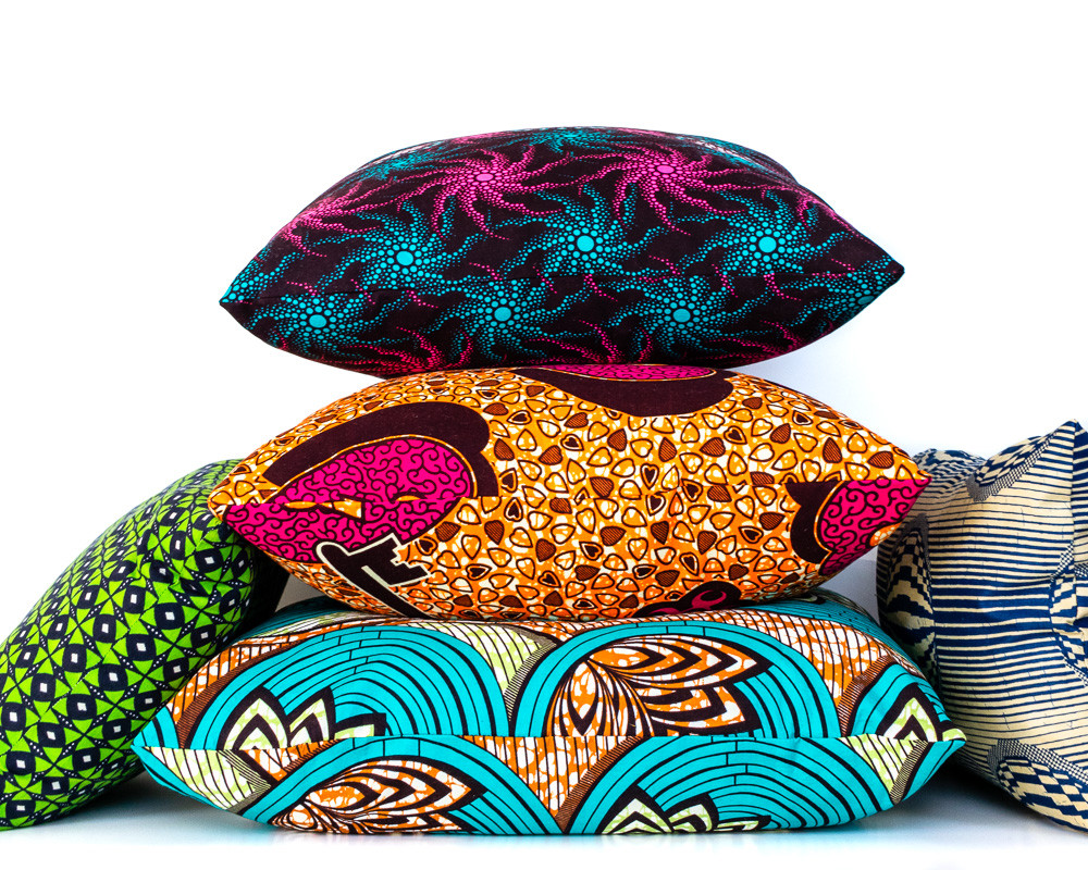 Collection of colorful African print throw pillows for home decor