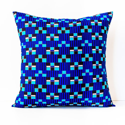 Geo Blue African print decorative pillow cover