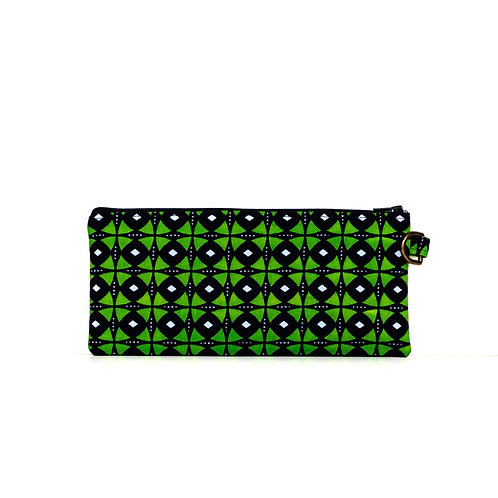 Navy and green African print organizer zipper pouch with D-ring