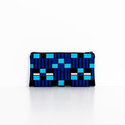 Blue Geo African print zipper pouch organizer