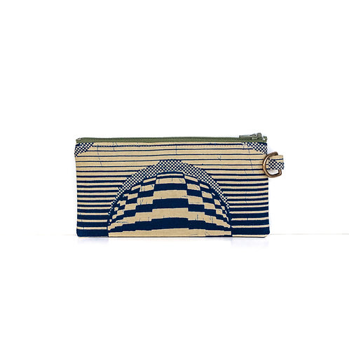 Navy Stripes African print essentials zipper pouch organizer with D-ring