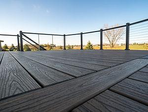 Custom deck design with aluminum railing