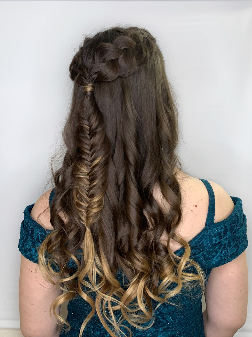 Half up half down fishtail braid jupdo