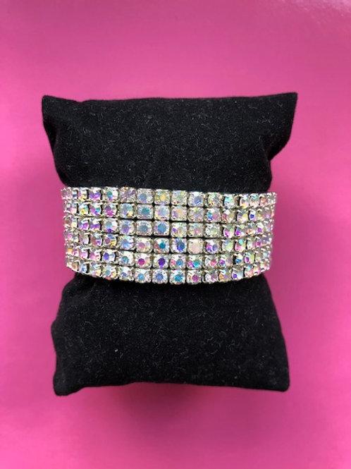 Armband met AB stenen 6 rijen