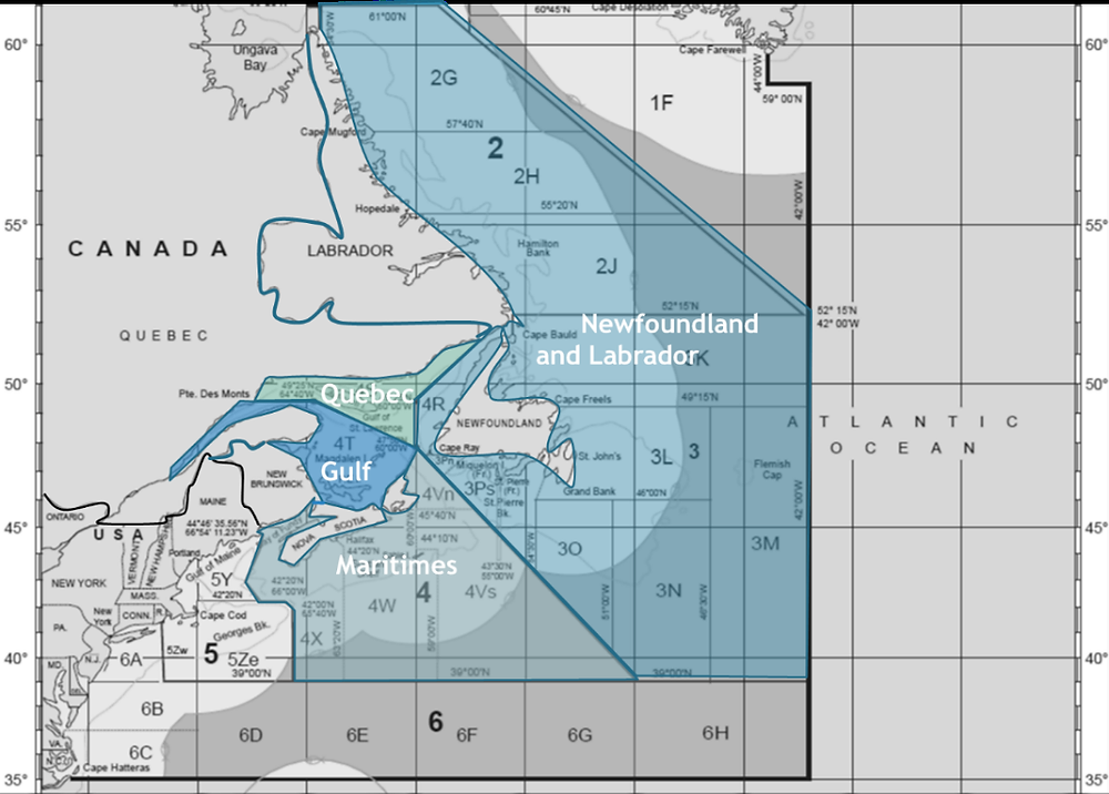 """Fig. 2 from Wilson et al., 2020. """"Eastern Canada as it relates to the Northwest Atlantic Fisheries Organization (NAFO) fishing areas with DFO management areas overlaid."""""""
