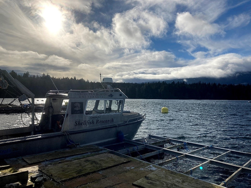 VIU Centre for Shellfish Research workboat, the Atrevida, used for a range of research work including oyster deployment/collection, water sampling to determine the carbonate chemistry of local waters, and collection of low-pH seawater for OA experimental work.