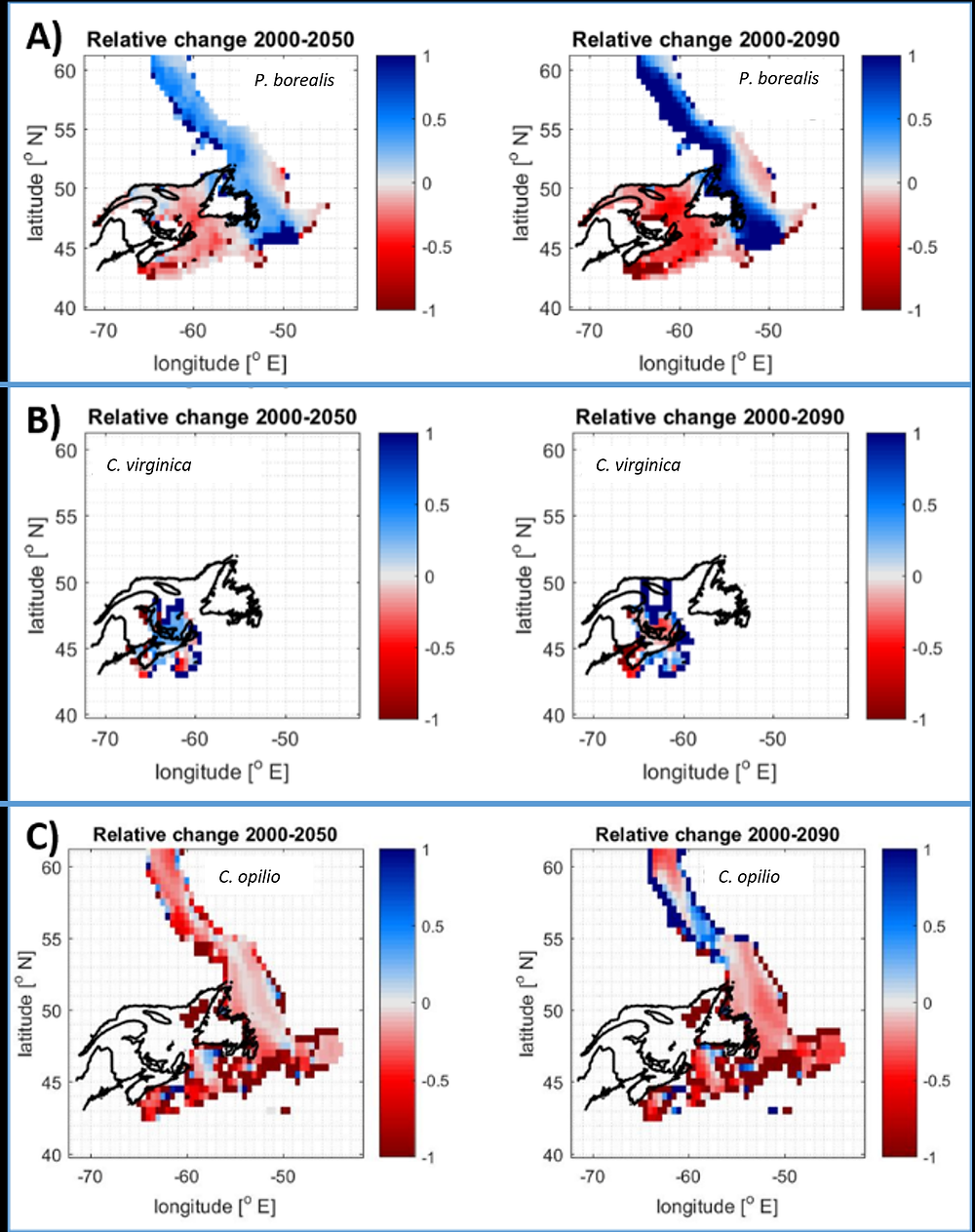 """Fig. 8 from Wilson et al., 2020. """"Relative changes in distribution for selected commercially targeted shellfish species. Northern shrimp (a -top), American oyster (b—middle) and snow crab (c—bottom), for 2050 (left) and 2090 (right) under """"business as usual CO2 emissions"""", highlighting south to north trend of changing species distributions."""""""