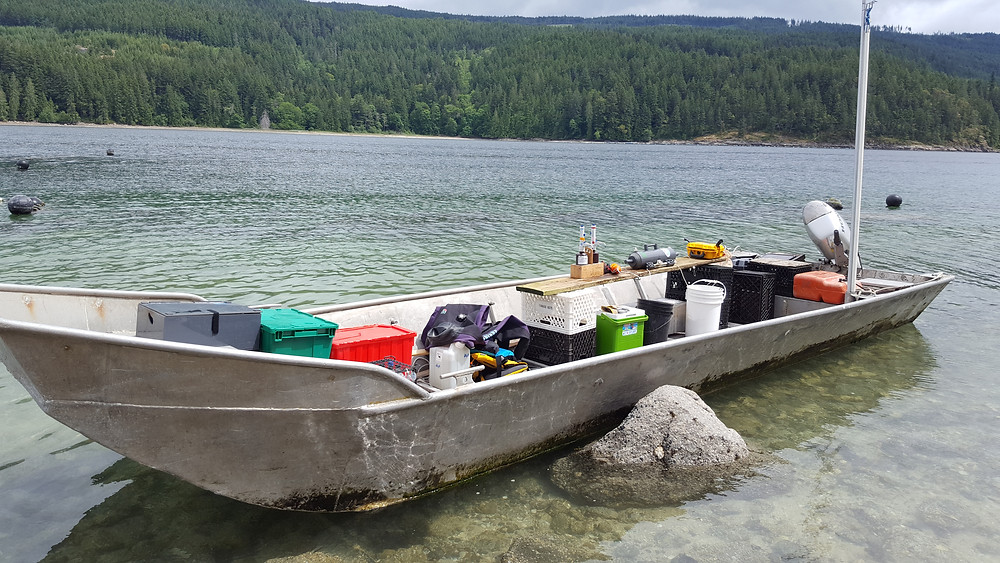 Sampling equipment and a makeshift lab sitting in a boat