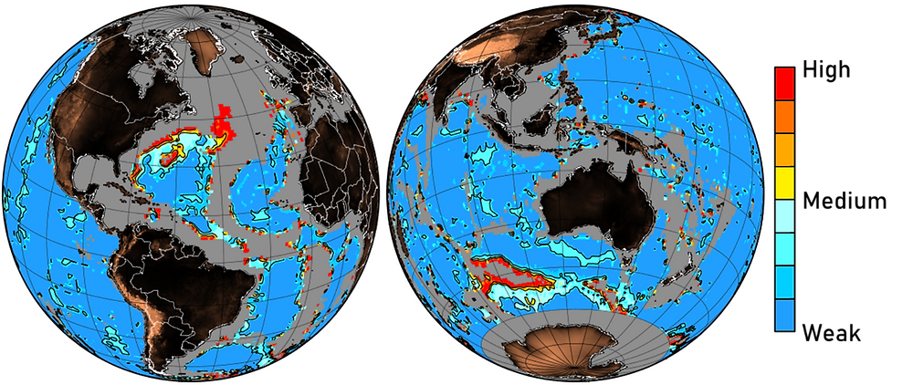 A heat map of the globe with representing carbonate dissolution showing high levels of dissolution in the western North Atlantic and various hotspots in the southern hemisphere's oceans