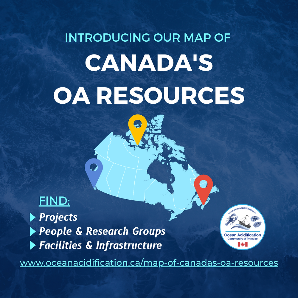 A map of Canada with three geographical pins (one on each coast). Text: Introducing our map of Canada's OA Resources! Find: projects, people and research groups, facilities and infrastructure, www.oceanacidification.ca/map-of-canadas-oa-resources