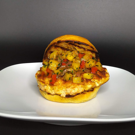 Salmon Burger with Grilled Pineapple Salsa