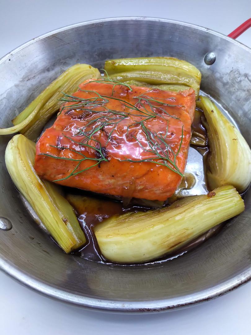 Maple Glazed Salmon with Caramelized Fennel