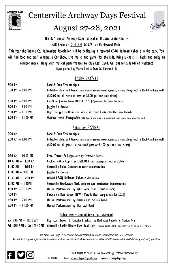 Centerville Archway Days events2021-page