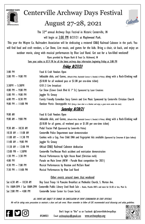 Centerville Archway Days events2021 Aug.jpg