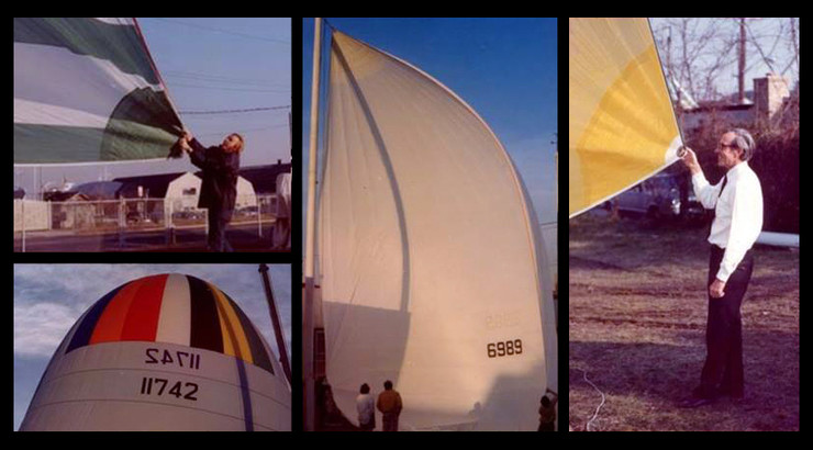 Gene Sutton holds the clew of a new spinnaker (left) and Owen Torrey – the man who perfected the radial spinnaker (right).