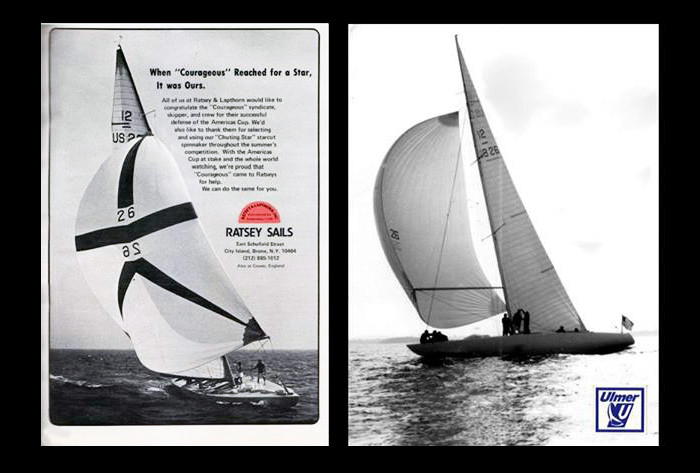 """Ratsey & Lapthorn and Ulmer Sailmakers of City Island had several sails in the inventory of """"Courageous"""" during the 1974 America's Cup."""