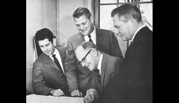"Mid 1960s, Ulmer Sails braintrust – Paul Keen, Charles ""Butch"" Ulmer, Charles ""Buster"" Ulmer, and Chuck Wiley."