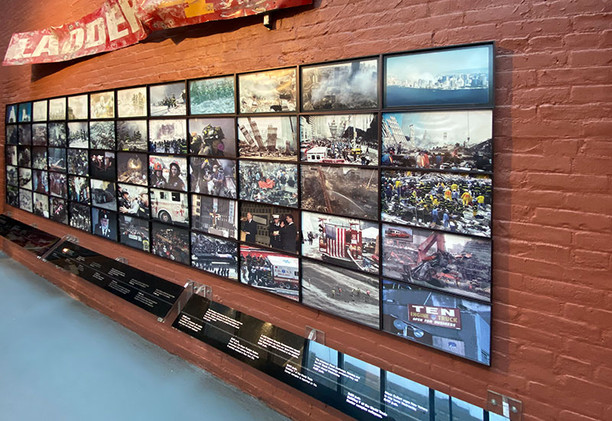 A timeline of the events of September 11, 2001 is accompanied by photographs from that day and the ensuing rescue and recovery efforts.