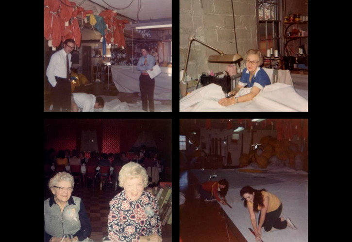 Clockwise: Owen Torrey, Ken Sutton, Edna Caspola (seamstress), Isabel Patton (bookkeeper), Linda Casola and Maureen Coyle Scanlon.
