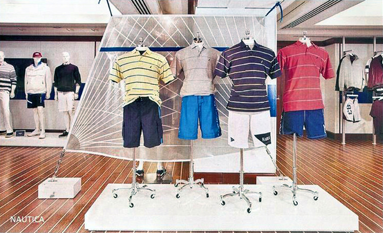 UK Sailmakers provided the backdrop displays for Nautica (shown), Ralph Lauren and J. Crew.