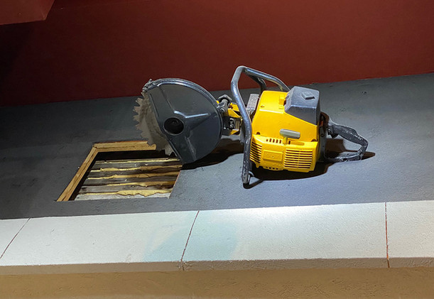 This gasoline powered roof saw has a carbide tipped saw blade that can cut through roof materials to vent smoke and heat.