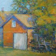 Sunlit Garage Amana 12 x 16 oil