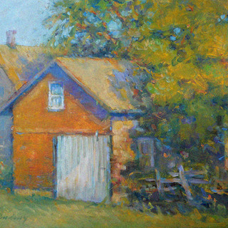 Sunlit Garage Amana 12 x 16 oil