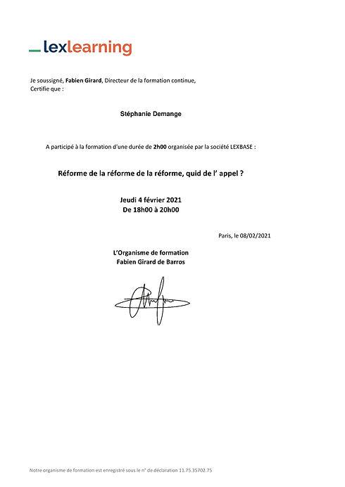Stéphanie_Demange_attestation formation