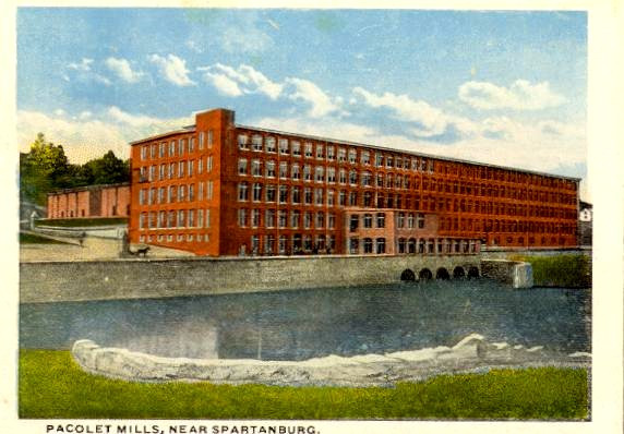 Old postcard showing cotton textile mill at Pacolet.