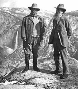 President Roosevelt and John Muir, founder of the Sierra Club, Yosemite, 1903