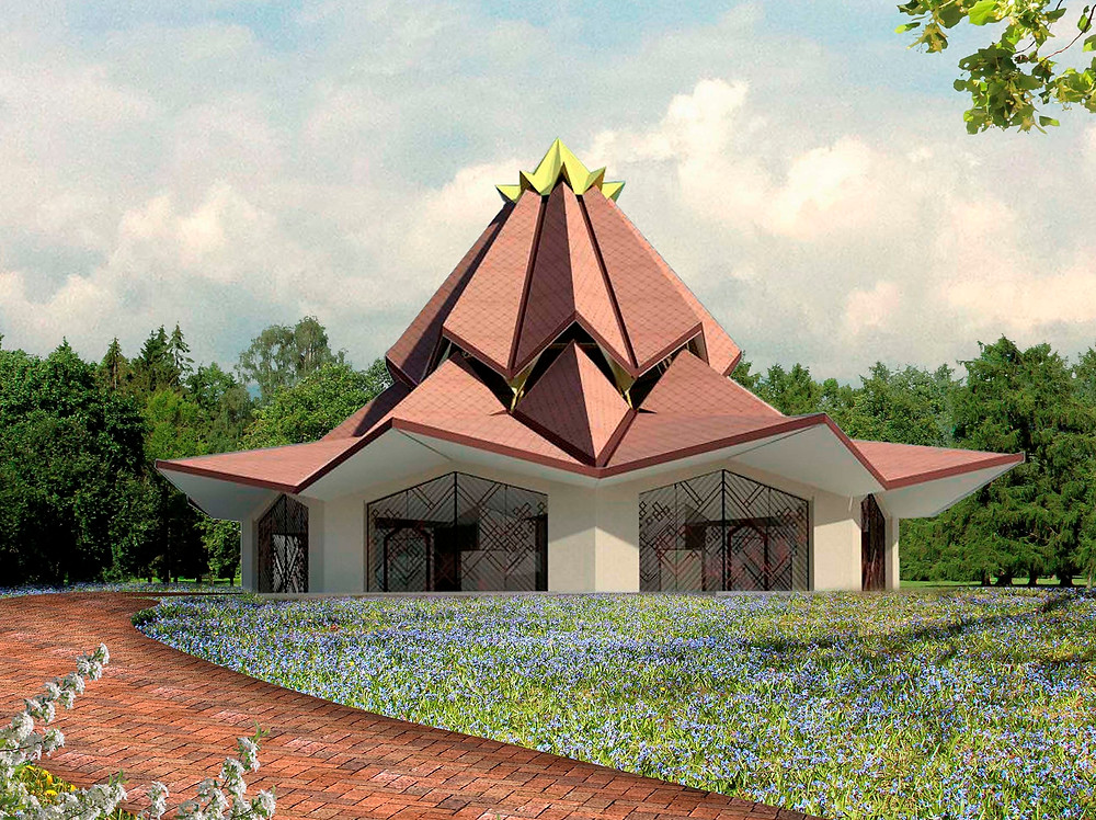 Architect's rendering of the local Baha'i house of worship, Agua Azul, Colombia