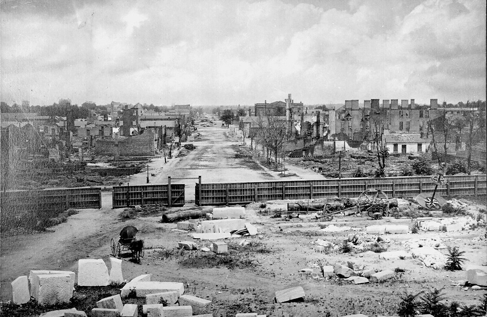 Looking down Main St., Columbia, SC, from the state house, early 1865