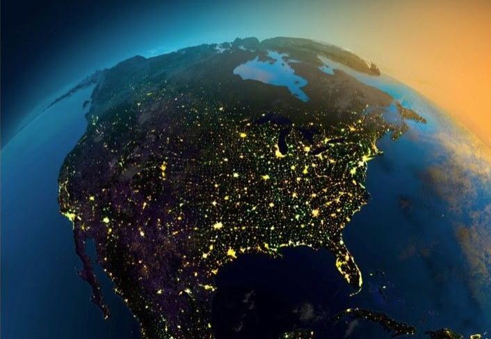 Dawn over North America
