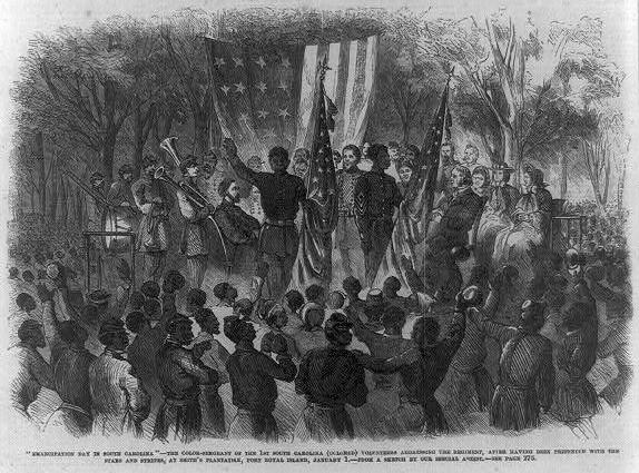 Emancipation celebration, Camp Saxton, Port Royal, SC, Jan. 1, 1863