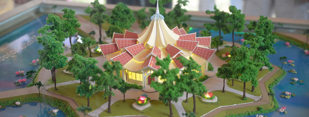 Model of the local Baha'i House of Worship, currently under construction in Battambang province, Cambodia