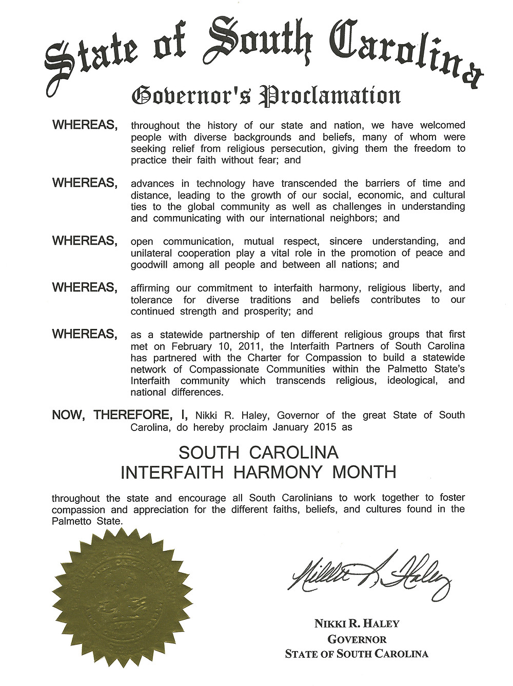 Proclamation of Interfaith Harmony Month 2015