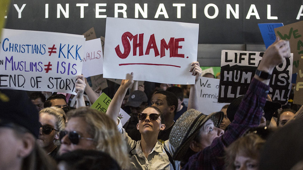 Protesters at Los Angeles International Airport, Jan. 29, 2017