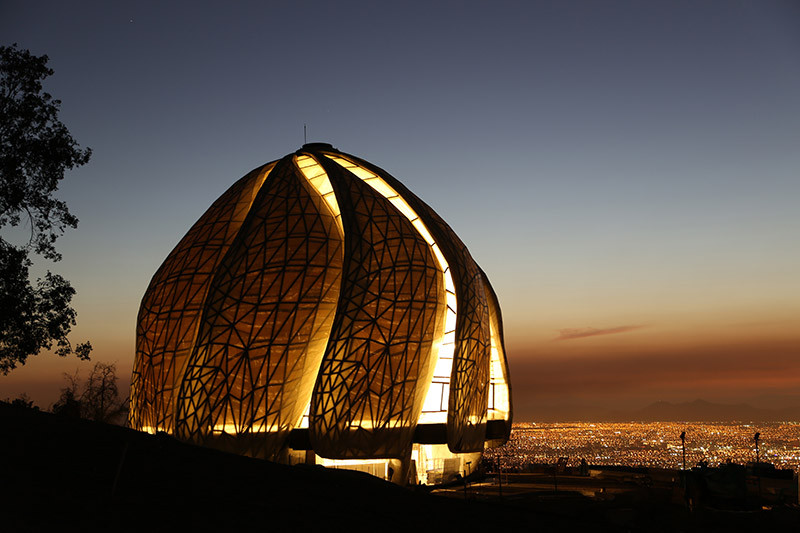Night view of the new Baha'i House of Worship, in the Andes foothills overlooking Santiago, Chile