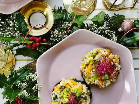 Champignons Portobello farcis au couscous perlé