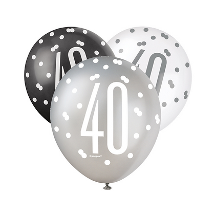 Black, Silver & White Glitz 40th Birthday Latex Balloons 6pk