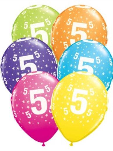 "Age 5 Latex 11"" Balloons 6pk"
