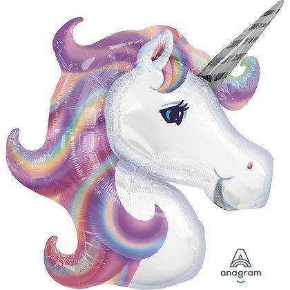 "Pastel Unicorn Head Foil 33"" SuperShape Balloon (Deflated)"